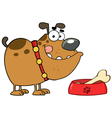 Brown bulldog with a bone in his dish bowl vector