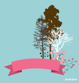 Cute card with ribbon trees and floral bouquets vector