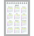 Calendar for 2013 week begins with sunday vector