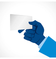 Blank card in hand vector