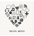 Social media icons in heart shape vector