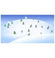 Fir trees over snowcapped landscape vector