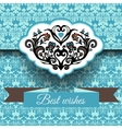 Royal damask ornament frame background vector