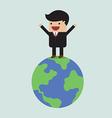 Businessman on the world vector