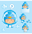 Character set of a boy in blue bird costume vector