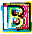 Colorful grunge font letter b vector