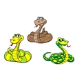 Cartoon snake characters set vector