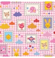 Cute baby animals seamless pattern vector
