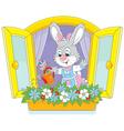 Easter bunny watering flowers vector