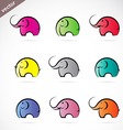 Group of colorful elephant vector