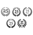 Anniversary jubilee laurel wreaths set vector
