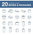 Icons boxes and packaging simple linear style vector
