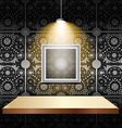 Shelf on luxury wallpaper vector