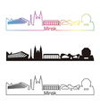 Minsk skyline linear style with rainbow vector