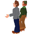 Cartoon couple standing and looking on something vector