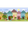Seamless border with cute houses and trees for you vector