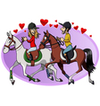 Riders in love vector