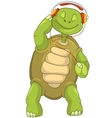 Funny turtle listening to music vector
