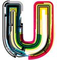 Colorful grunge font letter u vector
