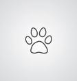 Cat footprint outline symbol dark on white vector