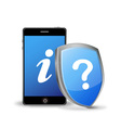 Smart phone with question and information sign vector