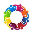 Teamwork hugging 8 logo vector