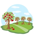 Apple orchard with harvest on green meadow vector