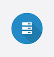 Server flat blue simple icon with long shadow vector