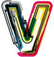 Colorful grunge font letter v vector