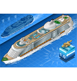 Isometric cruise ship in navigation in front view vector
