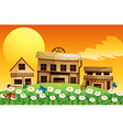 Three wooden houses with flowers vector