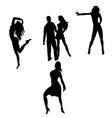 Silhouettes of dancing people vector