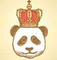 Crown panda vector