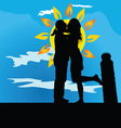 Couple kissing by leaning tower of pisa vector