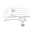 Sketch of the golf ball and flag vector