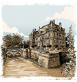 Vintage view of chateau de rosay eure france vector