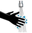 Hand washing under clean water tap vector