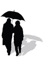 Couple walking with umbrella vector
