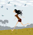 Girl chasing butterflies vector