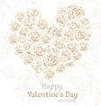 White roses valentines card vector