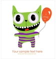 Cute monster card vector