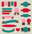 Set retro ribbons vintage labels emblems vector