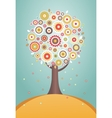 Cartoon tree with flowers vector