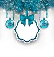 Christmas gift card with glass balls vector