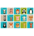 Icons of animals and pets in flat style vector