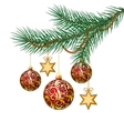 Red christmas balls on green spruce branch vector
