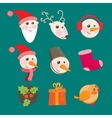 Christmas icons objects collection detailed vector