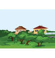 Cartoon village houses with green trees vector