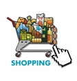 Shopping cart with groceries vector