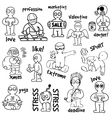 Sketches cartoon man in various situations vector